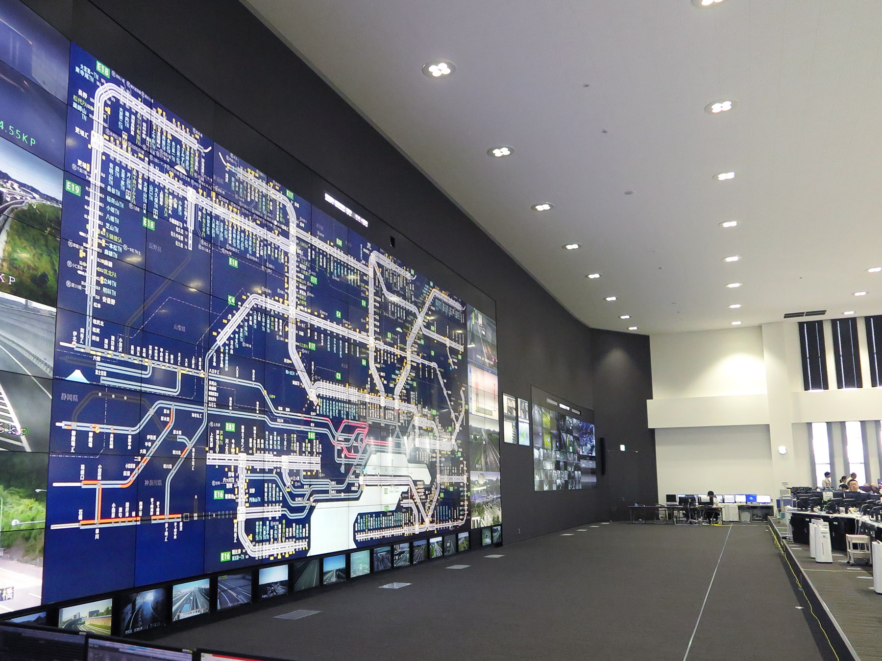 The traffic control room's screen
