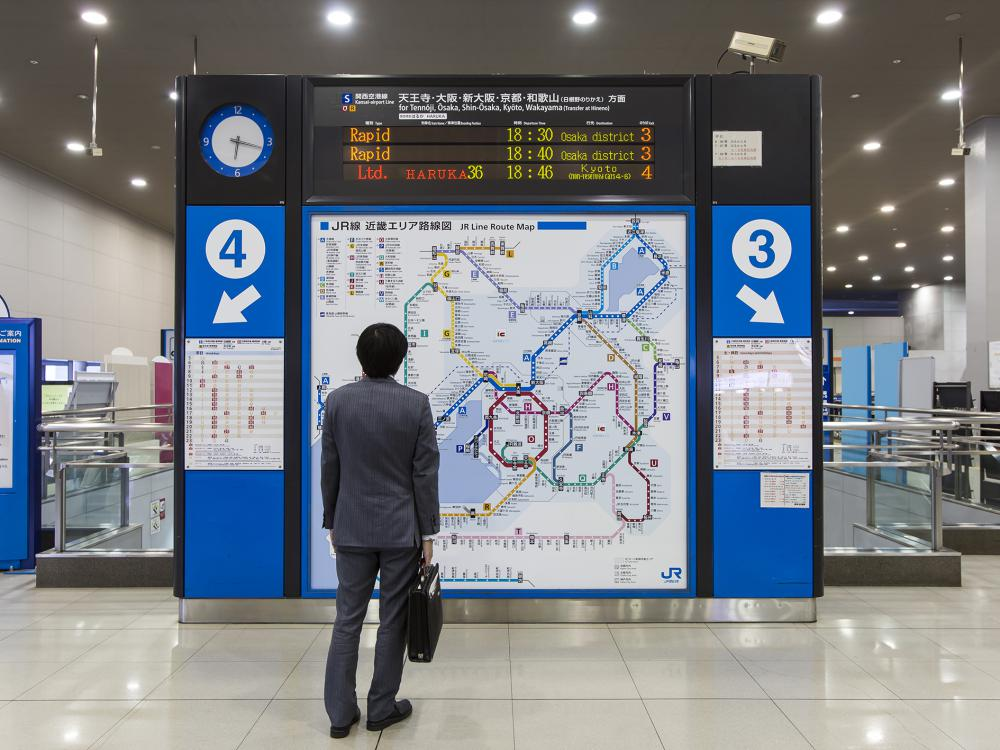 The Kansai Area Route Map at Kansai Airport Station